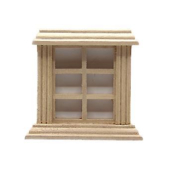 Κούκλες Σπίτι Γυμνό Ξύλο 6 Παράθυρο 1:24 Μισή ίντσα Κλίμακα Diy Οικοδόμοι