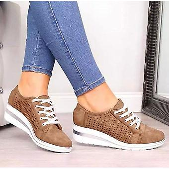 Summer Breathable Platform Sneakers, Meddle Heel Pointed Toe Air Mesh Shoes