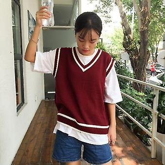 Striped V-neck Daily Knitted Stylish Students Korean Style Sleeveless Outerwear
