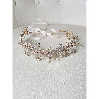 Hair Vine Pearl Crystal Vine Wedding Ribbon Headband
