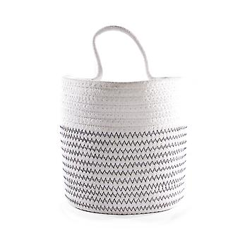 Hanging Cotton Rope Basket White with Black Thread | M&W