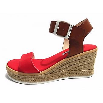 Damesschoenen Us Polo Wedge Niva Suede Canvas Rood Bruin Tc 70 Pl 20 Ds17up07