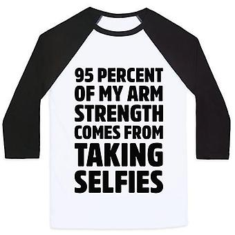 95 Percent of my arm strength comes from taking selfies unisex classic baseball teevz35379