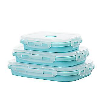 3pcs Rectangular sealed lunch box Rectangular multifunctional box Silicone folding fresh-keeping box