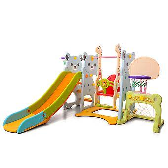 Moni slide infantil 18004 com balanço, 2 cestas de basquete, gol de futebol, a partir de 3 anos