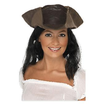 Pirate Hat With Hair Attached Fancy Dress Costume Accessory