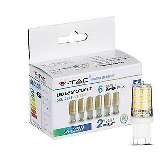 V-tac VT-2243 6-pack G9 LÁMPARAS LED - G9 - 3W - 300 Lm - 3000K