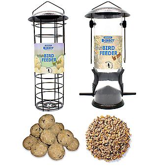 1 x Pair of Simply Direct Hammertone Nut and Fat Ball Feeders with 1KG bag of Peanut Feed and 6 Suet Fat Balls Wild Bird Feed