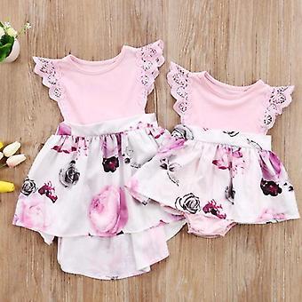 בגדים תואמים פרחוני בייבי Romper ושמלה