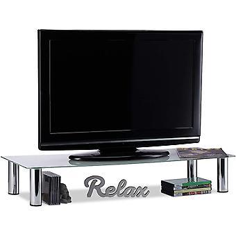 , weiß/Silber TV-Tisch Glas, verchromte Metallbeine, Bildschirmerhöhung, rechteckig, Glasaufsatz,
