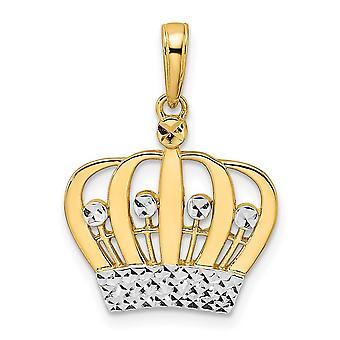 14k og Hvid Rhodium Sparkle Cut Crown Pendant Halskæde smykker Gaver til kvinder