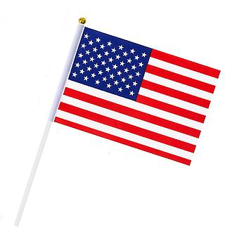 10Pcs hand held american flags us independence national day 5x8 inch