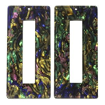 Zola Elements Acetate Pendant, Rectangle 22x49mm, 2 Pieces, Abalone