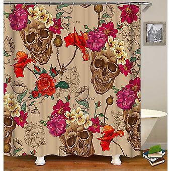 Tuoreita kukkia sovi Skulls maalaus suihku verho