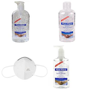 Back to Office Work Essential Protection KIT Pure-Klenz Hand Sanitisers Antibacterial 100ml, 250ml Pump Bottle, 600ml Refill, Pro Safe Face Cover