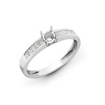 Jewelco London Solid 18ct White Gold Channel Set Princess G VS 0.38ct Diamond Semi Set Mount Engagement Ring 6.5mm