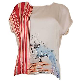 Camiseta Oui White Harbour Print Drop Sleeve con un frente de efecto seda