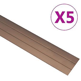 vidaXL Siirtymäprofiili 5 Kpl. Alumiini 90 cm Ruskea