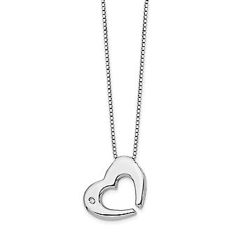 Polished Spring Ring White Ice .02ct Diamond Love Heart Necklace 18 Inch Jewelry Gifts for Women