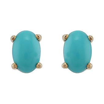 Classic Oval Turquoise Stud Earrings in 9ct Yellow Gold 6x4mm 8546