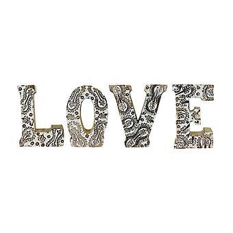 Hand snidade trä vita blomma bokstäver kärlek