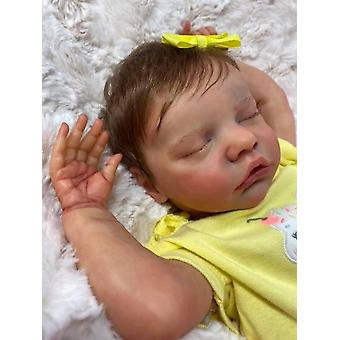 45Cm reborn premie bébé poupée nouveau-né twinb douce petite fille en robe jaune peinture main détaillée vraie poupée au toucher doux