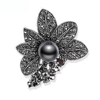 Retro Broszka Pin Czarny Rhinestone Corsage Imitacja Pearl Ladies Broszka