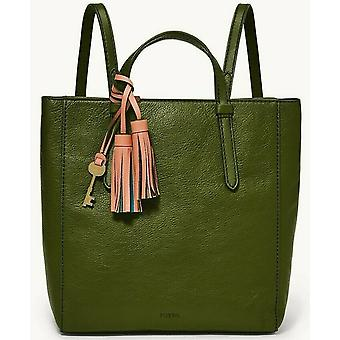 Fossil Camilla Green Olive Leather Convertible Backpack Tote ZB1402311 NWT $178
