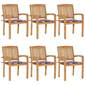vidaXL Stackable garden chairs with cushions 6 pcs. solid wood teak