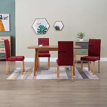 vidaXL chaises à manger 4 pcs. vin rouge tissu