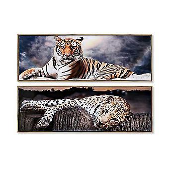 Board DKD Home Decor dier Multicolour (2 stuks) (120 x 2 x 40 cm)