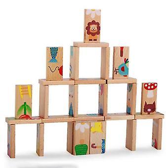 28 pièces/ensemble de couleur animale Dominos en bois Cartoon Jouets bébé Jeux pour enfants