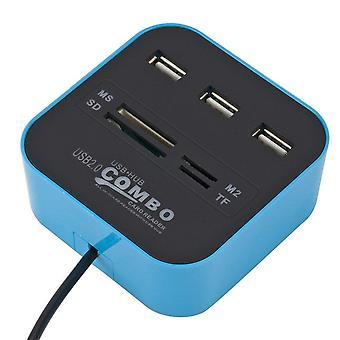 Nopeat USB 2.0 Hub 3 -portit, joissa on kortinlukijan minikeskittimen USB-yhdistelmä kaikki yhdessä monitoimisen USB2.0:n