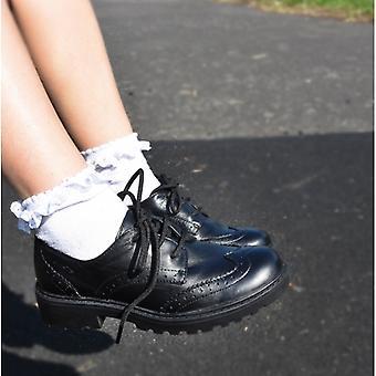 GEOX الابن كيسي بنات الجلود Brogue أحذية المدرسة السوداء