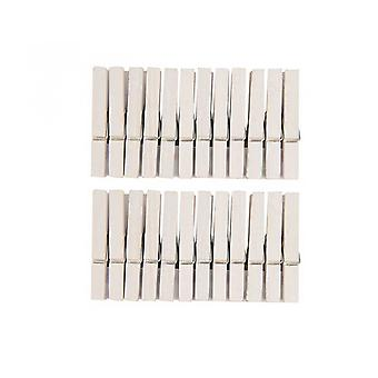 24 Painted White 7cm Wooden Clothes Pegs | Wooden Shapes for Crafts
