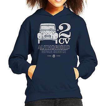 Citroen 2CV Auktoriserad reparationstjänst Vit Logotyp Kid's Hooded Sweatshirt