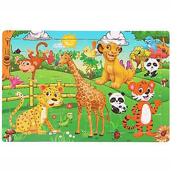 30 Pieces wooden toy jigsaw puzzle wood cartoon animal kid montessori early learning baby educational toys for children kids
