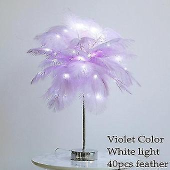 Diy Feather Table Lamp Warm White Light Tree Feather Lampshade Led Wedding Decoration Lamp (N)