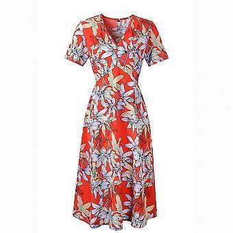 Estampado floral cuello en V medio elástico cintura vestido big swing gasa falda de playa