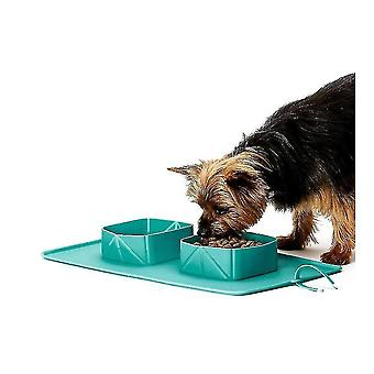 Dog toys foldable travel silicone dog cat bowl portable pet supplies green