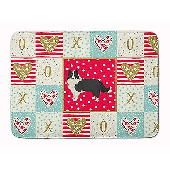 Bath mats rugs border collie love machine washable memory foam mat