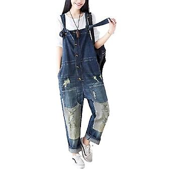 Woman Retro Ripped Overalls Demin Jeans