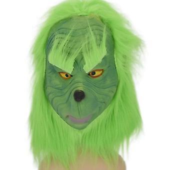 תחפושת חג המולד לטקס מסכה חליפה ירוקה למסיבת חג קוספליי