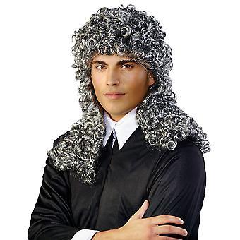 Dommer wig sølvfargede grå dommer parykk krøller krøllete