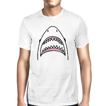 Shark Mens White Graphic T-Shirt Lightweight Summer Cotton Tee