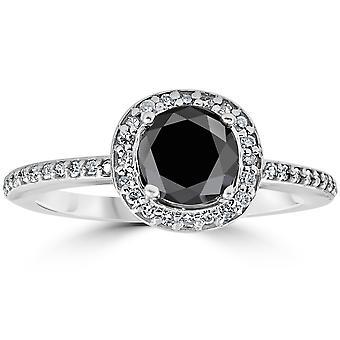 1 1 / 10ct behandelt Black Diamond Kissen Halo Verlobungsring 14K White Gold