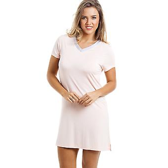 Camille Stylish Knee Length Short Sleeve Peach Nightdress