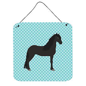 Friesian Horse Blue Check mur ou une porte suspendue imprime