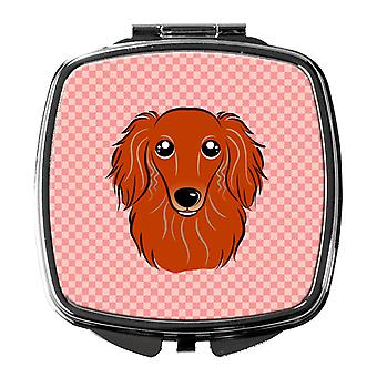 Checkerboard Pink Longhair Red Dachshund Compact Mirror