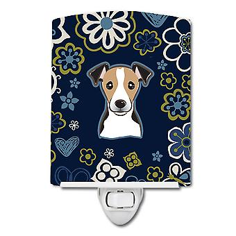 Blue Flowers Jack Russell Terrier Ceramic Night Light